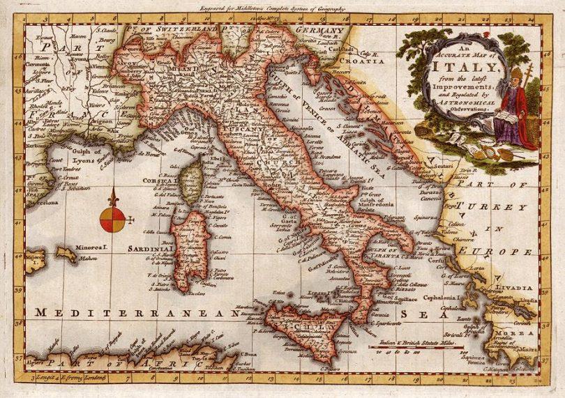 Mappa Italia anni 1900
